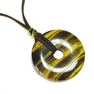 Brown Tiger's Eye Large Round Gemstone Donut Pendant - 50mm