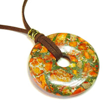 Load image into Gallery viewer, Orange Sediment Jasper & Pyrite Large Round Gemstone Donut Pendant - 50mm