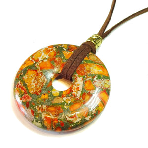 Orange Sediment Jasper & Pyrite Large Round Gemstone Donut Pendant - 50mm