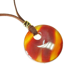 Orange Carnelian Large Round Gemstone Pendant - 50mm