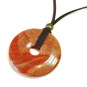 Red Flame Jasper Large Round Gemstone Donut Pendant - 50mm