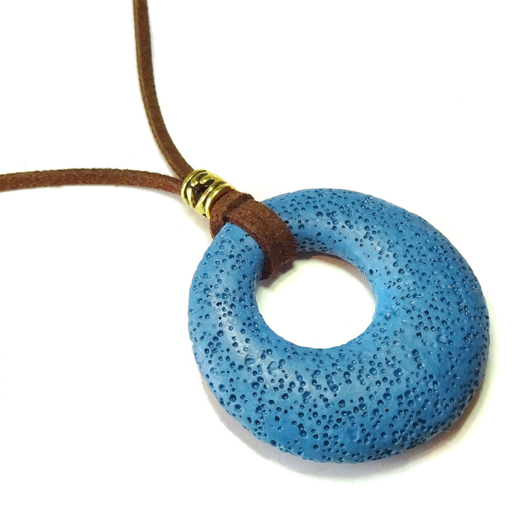 Blue Lava Stone Large Round Gemstone Donut Pendant - 50mm