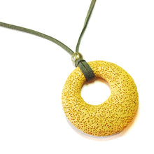 Load image into Gallery viewer, Mustard Yellow Lava Stone Large Round Gemstone Donut Pendant - 50mm