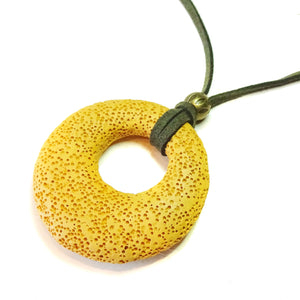 Mustard Yellow Lava Stone Large Round Gemstone Donut Pendant - 50mm