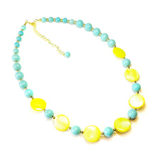 Load image into Gallery viewer, Yellow Shell, Turquoise & Gold Plated Necklace 22-25 inches