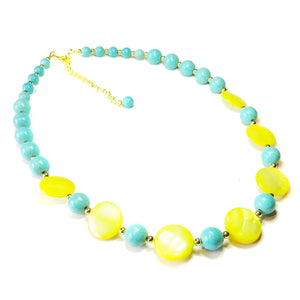 Yellow Shell, Turquoise & Gold Plated Necklace 22-25 inches