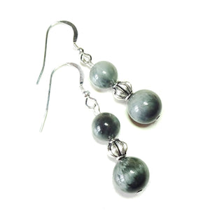 Dark Grey Hawk Eye Quartz Gemstone Drop Earrings