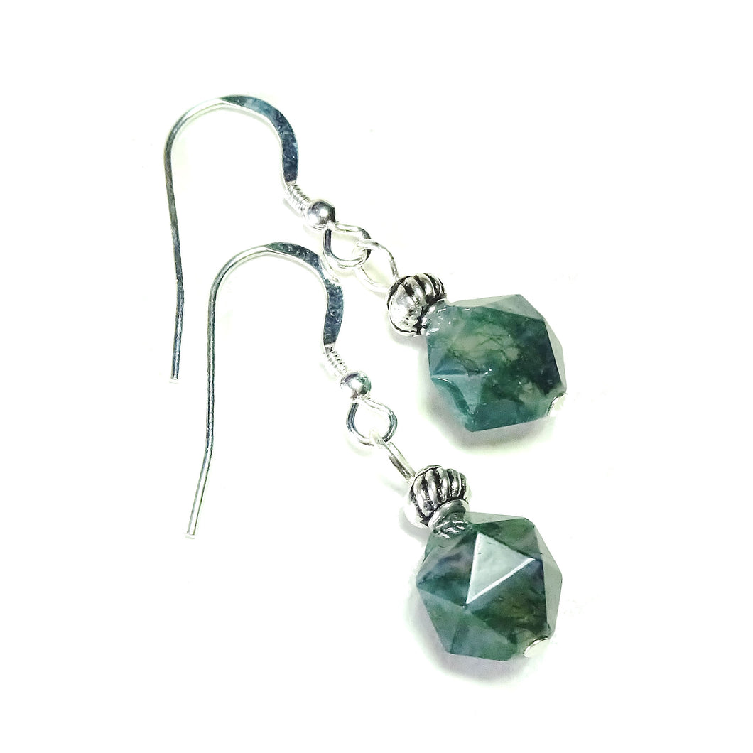 Green Agate & Sterling Silver Gemstone Drop Earrings