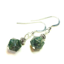 Load image into Gallery viewer, Green Agate & Sterling Silver Gemstone Drop Earrings