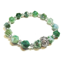 Load image into Gallery viewer, Green Agate Gemstone Stretch Bracelet 19.5cm