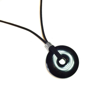 Black Onyx Large Round Gemstone Donut Pendant - 50mm
