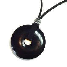 Load image into Gallery viewer, Black Onyx Large Round Gemstone Donut Pendant - 50mm