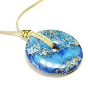 Blue Sea Sediment Jasper Large Round Gemstone Donut Pendant - 50mm