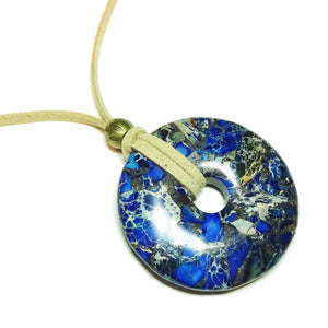 Blue Sea Sediment Jasper & Pyrite Large Round Gemstone Donut Pendant - 50mm