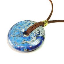 Load image into Gallery viewer, Blue Sea Sediment Jasper Large Round Gemstone Donut Pendant - 50mm