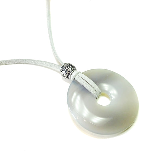 Grey Agate Large Round Gemstone Donut Pendant -  50mm