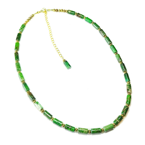Green Sea Sediment Jasper Gemstone & Old Gold Beaded Necklace - 22 - 25 inches