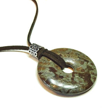 Load image into Gallery viewer, Chinese Snowflake Jasper Large Round Gemstone Donut Pendant - 40mm