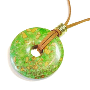 Green Turquoise Matrix Large Round Gemstone Donut Pendant - 45mm