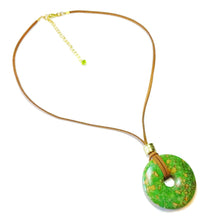 Load image into Gallery viewer, Green Turquoise Matrix Large Round Gemstone Donut Pendant - 45mm