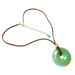Green Aventurine Large Round Gemstone Donut Pendant - 50mm