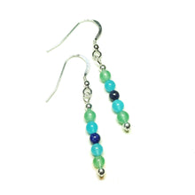 Load image into Gallery viewer, Green Aventurine, Aqua Jade & Lapis Lazuli Gemstone Drop Earrings