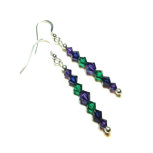 Dark Purple, Green & Blue Crystal & Sterling Silver Drop Earrings