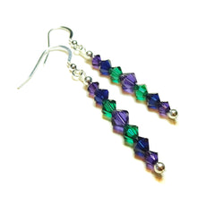 Load image into Gallery viewer, Dark Purple, Green & Blue Crystal & Sterling Silver Drop Earrings