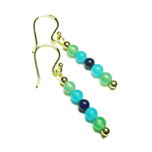 Green Aventurine, Aqua Jade & Lapis Lazuli Gemstone Drop Earrings