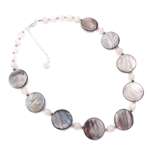 Chunky Mushroom Brown Shell & Rose Quartz Gemstone Necklace