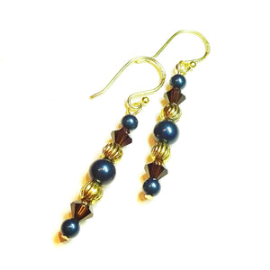 Dark Petrol Blue, Brown & Gold Crystal & Pearl Drop Earrings