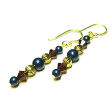 Load image into Gallery viewer, Dark Petrol Blue, Brown & Gold Crystal & Pearl Drop Earrings