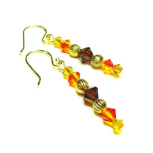 Load image into Gallery viewer, Orange, Brown & Gold Swarovski Crystal Drop Earrings