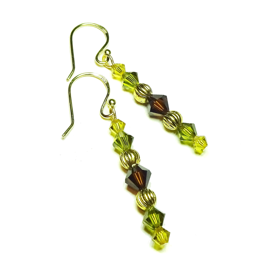 Olive Green, Brown & Gold Swarovski Crystal Drop Earrings