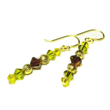 Load image into Gallery viewer, Olive Green, Brown & Gold Swarovski Crystal Drop Earrings
