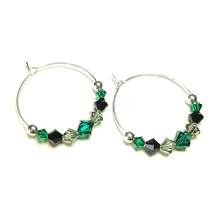Green, Black & Grey Crystal Sterling Silver Hoop Earrings