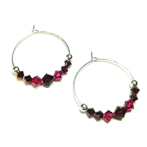 Dark Red & Pink Crystal Sterling Silver Hoop Earrings