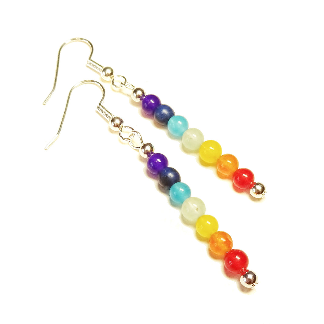 Semi-precious Gemstone Chakra / Meditation Drop Earrings - Silver or Gold