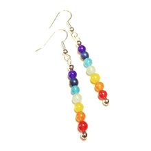 Load image into Gallery viewer, Semi-precious Gemstone Chakra / Meditation Drop Earrings - Silver or Gold