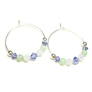 Pastel Pink, Green Aventurine, Purple Crystal Sterling Silver Hoop Earrings