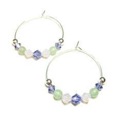 Load image into Gallery viewer, Pastel Pink, Green Aventurine, Purple Crystal Sterling Silver Hoop Earrings