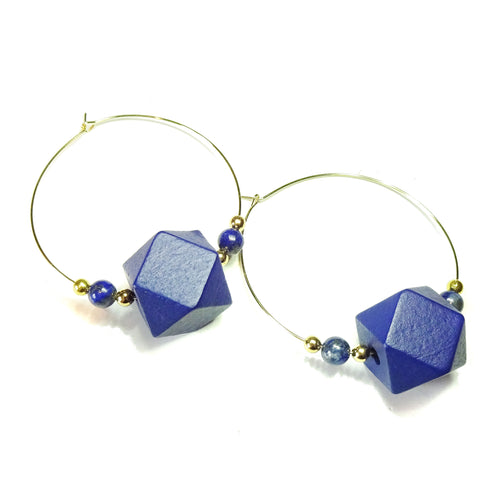 Large Blue Wood, Lapis Lazuli Gemstone & Gold Plated Hoop Earrings 50mm