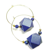 Load image into Gallery viewer, Large Blue Wood, Lapis Lazuli Gemstone & Gold Plated Hoop Earrings 50mm