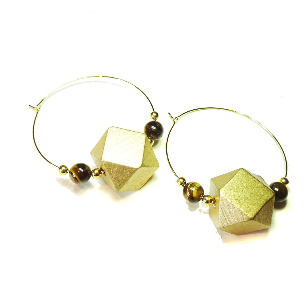 Large Golden Wood, Brown Tiger's Eye Gemstone & Gold Plated Hoop Earrings 50mm
