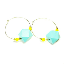 Load image into Gallery viewer, Large Blue Wood, Yellow Crystal & Gold Plated Hoop Earrings 50mm