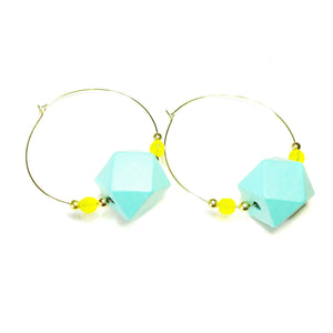 Large Blue Wood, Yellow Crystal & Gold Plated Hoop Earrings 50mm
