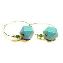 Load image into Gallery viewer, Large Blue Wood, Green Jade Gemstone & Gold Plated Hoop Earrings 50mm