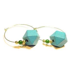 Large Blue Wood, Green Jade Gemstone & Gold Plated Hoop Earrings 50mm