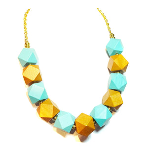 Chunky Blue & Tan Wood & Antique Gold Necklace 21-23.5 inches