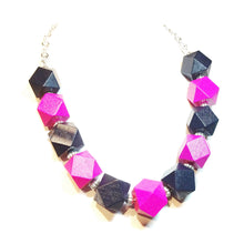 Load image into Gallery viewer, Chunky Bright Pink & Black Wood Necklace 20.5-23 inches